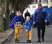 17 February 2018; Leinster supporters, Alex, left, age 8, and Jamie, age 6, from Tullow, Co Carlow, with their uncle David, from Dublin, make their way to the ground ahead of the Guinness PRO14 Round 15 match between Leinster and Scarlets at the RDS Arena in Dublin. Photo by Seb Daly/Sportsfile