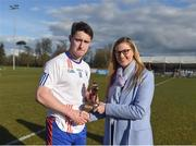 17 February 2018; Lynne D'Arcy, Sponsorship, Electric Ireland, proud sponsor of the Electric Ireland GAA Higher Education Championships, presenting Liam Carey from Mary Immaculate College Limerick with the Man of the Match award for his outstanding performance in the Electric Ireland Trench Cup Final between Waterford Institute of Technology and Mary Immaculate College Limerick at Santry Avenue in Dublin. The unique quality of the Electric Ireland Higher Education Championships sees these players putting their intercounty and club rivalries aside to strive to achieve Electric Ireland Trench Cup glory. Electric Ireland has been shining a light on these First Class Rivals as proud sponsor of the college level competitions for the next four years. Photo by Daire Brennan/Sportsfile