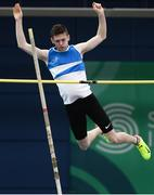17 February 2018; Matthew Callinan Keenan of St. L. O'Toole AC, Co Carlow, on his way to finishing joint first in the Mens Pole Vault during the Irish Life Health National Senior Indoor Athletics Championships at the National Indoor Arena in Abbotstown, Dublin. Photo by Sam Barnes/Sportsfile