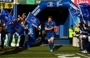 17 February 2018; Jordi Murphy of Leinster walks out to earn his 100th cap for Leinster pior to the Guinness PRO14 Round 15 match between Leinster and Scarlets at the RDS Arena in Dublin. Photo by Brendan Moran/Sportsfile