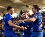17 February 2018; James Lowe of Leinster, right, is congratulated by teammates Adam Byrne, left, and Jordan Larmour, centre, after scoring his side's first try during the Guinness PRO14 Round 15 match between Leinster and Scarlets at the RDS Arena in Dublin. Photo by Seb Daly/Sportsfile