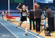 17 February 2018; Sarah Healy of Blackrock AC, Co Dublin, celebrates after winning the Womens 3000m during the Irish Life Health National Senior Indoor Athletics Championships at the National Indoor Arena in Abbotstown, Dublin. Photo by Sam Barnes/Sportsfile