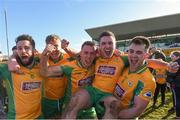 17 February 2018; Corofin players, from left, Conor Cunningham, Dylan McHugh, Jason Leonard, Dylan Wall and Cathal Silke celebrate after the AIB GAA Football All-Ireland Senior Club Championship Semi-Final match between Corofin and Moorefield at O'Connor Park in Tullamore, Offaly. Photo by Matt Browne/Sportsfile