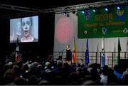 17 February 2018; Jemma Seery from Ballinagore, Westmeath, singing solo during the All-Ireland Scór na nÓg Final 2018 at the Knocknarea Arena in Sligo IT, Sligo. Photo by Eóin Noonan/Sportsfile