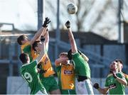 17 February 2018; Corofin players, from  Gary Sice, Liam Silke and Dylan McHugh in action against Adam Sweeney, left, and Cian O'Connor of Moorefield during the AIB GAA Football All-Ireland Senior Club Championship Semi-Final match between Corofin and Moorefield at O'Connor Park in Tullamore, Offaly. Photo by Matt Browne/Sportsfile