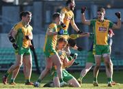 17 February 2018; Corofin players, from left, Liam Silke, Barry O'Donovan, Kieran Fitzgerald and Ronan Steede celebrate after the AIB GAA Football All-Ireland Senior Club Championship Semi-Final match between Corofin and Moorefield at O'Connor Park in Tullamore, Offaly. Photo by Matt Browne/Sportsfile