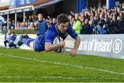 17 February 2018; Luke McGrath of Leinster dives over to score his side's third try during the Guinness PRO14 Round 15 match between Leinster and Scarlets at the RDS Arena in Dublin. Photo by Brendan Moran/Sportsfile