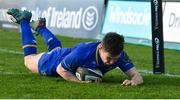 17 February 2018; Luke McGrath of Leinster scores his side's third try during the Guinness PRO14 Round 15 match between Leinster and Scarlets at the RDS Arena in Dublin. Photo by Brendan Moran/Sportsfile
