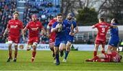 17 February 2018; Luke McGrath of Leinster races through on the way to scoring his side's third try during the Guinness PRO14 Round 15 match between Leinster and Scarlets at the RDS Arena in Dublin. Photo by Brendan Moran/Sportsfile