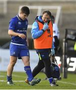 17 February 2018; Luke McGrath of Leinster leaves the pitch with Leinster team doctor Prof John Ryan during the Guinness PRO14 Round 15 match between Leinster and Scarlets at the RDS Arena in Dublin. Photo by Brendan Moran/Sportsfile