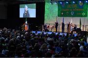17 February 2018; Ava Brogan, Róisín Noone, Elsie Harman, Eleanor Smith and Ríonach Nic Conmara from St. Mary's Carrick-on-Shannon, Leitrim, competing in the Ballad Groups category during the All-Ireland Scór na nÓg Final 2018 at the Knocknarea Arena in Sligo IT, Sligo. Photo by Eóin Noonan/Sportsfile