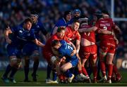 17 February 2018; Nick McCarthy of Leinster is tackled by James Davies, left, and Declan Smith of Scarlets during the Guinness PRO14 Round 15 match between Leinster and Scarlets at the RDS Arena in Dublin. Photo by Harry Murphy / Sportsfile