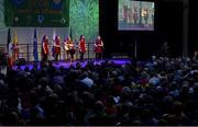 17 February 2018; Orlagh O'Gorman, Rachel Hodnett, Cáit Ní Chríodáin, Aoife Nic Shuibhne and Joan O'Donovan  from Carbery Rangers, Cork, competing in the Ballad Groups category during the All-Ireland Scór na nÓg Final 2018 at the Knocknarea Arena in Sligo IT, Sligo. Photo by Eóin Noonan/Sportsfile