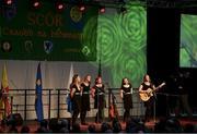 17 February 2018; Olivia Whelan, Alanna McKeon, Michelle Mollaghan, Anna Moorehead and Niamh O'Brien from Emmet Óg Killoe, Longford, competing in the Ballad Groups category during the All-Ireland Scór na nÓg Final 2018 at the Knocknarea Arena in Sligo IT, Sligo. Photo by Eóin Noonan/Sportsfile