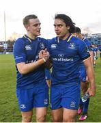 17 February 2018; Nick McCarthy, left, and James Lowe of Leinster following their side's victory during the Guinness PRO14 Round 15 match between Leinster and Scarlets at the RDS Arena in Dublin. Photo by Seb Daly/Sportsfile