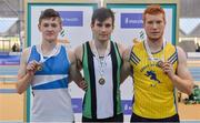 17 February 2018; Mens Pole Vault medallists, from left, Matthew Callinan Keenan of St. L. O'Toole AC, Co Carlow, gold, Shane Martin of Ballymena & Antrim AC, Co Antrim, gold, and Raymond Walsh of Abbey Striders AC, Co Cork, bronze, during the Irish Life Health National Senior Indoor Athletics Championships at the National Indoor Arena in Abbotstown, Dublin. Photo by Sam Barnes/Sportsfile