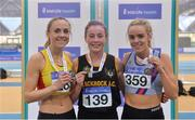 17 February 2018; Womens 3000m medallists, from left, Kerry O'Flaherty of Newcastle & District AC, Co Down, silver, Sarah Healy of Blackrock AC, Co Dublin, gold, and Meghan Ryan of Dundrum South Dublin AC, Co Dublin, bronze,  during the Irish Life Health National Senior Indoor Athletics Championships at the National Indoor Arena in Abbotstown, Dublin. Photo by Sam Barnes/Sportsfile