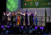 17 February 2018; Tiernan Breslin, Luí Duffy, Dylan Phillips, Shane Kavanagh, Ellen Cromie, Orla McGuinness, Aimee McAteer and Hannah McManus from Killeavy, Armagh, competing in the Rince Foirne category during the All-Ireland Scór na nÓg Final 2018 at the Knocknarea Arena in Sligo IT, Sligo. Photo by Eóin Noonan/Sportsfile