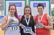17 February 2018; Women's Shot Put medallists, from left, Alana Frattaroli of Limerick AC, Co Limerick, silver, Michaela Walsh of Swinford AC, Co Mayo, gold, and Geraldine Stewart of Tí­r Chonaill AC, Co Donegal, bronze, during the Irish Life Health National Senior Indoor Athletics Championships at the National Indoor Arena in Abbotstown, Dublin. Photo by Sam Barnes/Sportsfile