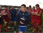 17 February 2018; Luke McGrath of Leinster leads his side off the field following their victory during the Guinness PRO14 Round 15 match between Leinster and Scarlets at the RDS Arena in Dublin. Photo by Seb Daly/Sportsfile
