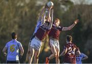 17 February 2018; Enda Tierney, left, and Peter Cooke of NUI Galway in action against Jack Barry of University College Dublin during the Electric Ireland HE GAA Sigerson Cup Final match between University College Dublin and NUI Galway at Santry Avenue in Dublin. Photo by Daire Brennan/Sportsfile