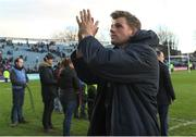 17 February 2018; Jordi Murphy of Leinster applauds supporters after during the Guinness PRO14 Round 15 match between Leinster and Scarlets at the RDS Arena in Dublin. Photo by Brendan Moran/Sportsfile