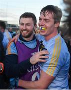 17 February 2018; University College Dublin captain Stephen Coen and injured player Jack McCaffrey celebrate after the Electric Ireland HE GAA Sigerson Cup Final match between University College Dublin and NUI Galway at Santry Avenue in Dublin. Photo by Daire Brennan/Sportsfile