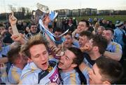 17 February 2018; University College Dublin captain Stephen Coen with the Sigerson Cup after the Electric Ireland HE GAA Sigerson Cup Final match between University College Dublin and NUI Galway at Santry Avenue in Dublin. Photo by Daire Brennan/Sportsfile