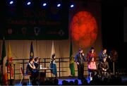 17 February 2018; Emily Shaw, Katie Moore, Grace O'Neill, Alan Colgan, Tom Tuite, Dónal Doherty, Ryan Molloy and Rory Shiel from The Downs, Westmeath, competing in the Stage Presentation category during the All-Ireland Scór na nÓg Final 2018 at the Knocknarea Arena in Sligo IT, Sligo. Photo by Eóin Noonan/Sportsfile