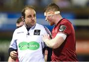 17 February 2018; Jack O'Donoghue of Munster talks to Referee Stuart Berry during the Guinness PRO14 Round 15 match between Cardiff Blues and Munster at Cardiff Arms Park in Cardiff. Photo by Ben Evans/Sportsfile