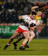 17 February 2018; Darren McCurry of Tyrone in action against Conor Morrison of Donegal during the Bank of Ireland Dr. McKenna Cup Final match between Tyrone and Donegal at the Athletic Grounds in Armagh.. Photo by Oliver McVeigh/Sportsfile