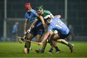 17 February 2018; Sean Finn of Limerick in action against Danny Sutcliffe and Cian Boland of Dublin during the Allianz Hurling League Division 1B Round 3 match between Limerick and Dublin at the Gaelic Grounds in Limerick. Photo by Diarmuid Greene/Sportsfile