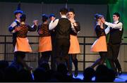 17 February 2018; Anna Fallon, Dónal Doherty, Andrew Shaw, Emma Thompson, Caoimhe Monaghan , Cathal Dagg, Eoghan Murray and Neasa Mangan-Lynch from The Downs, Westmeath, competing in the Set Dancing category during the All-Ireland Scór na nÓg Final 2018 at the Knocknarea Arena in Sligo IT, Sligo. Photo by Eóin Noonan/Sportsfile