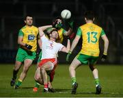 17 February 2018; Harry Loughran of Tyrone in action against Daire O'Baoill and Niall O'Donnell of Donegal during the Bank of Ireland Dr. McKenna Cup Final match between Tyrone and Donegal at the Athletic Grounds in Armagh. Photo by Oliver McVeigh/Sportsfile