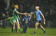 17 February 2018; Seamus Flanagan of Limerick and Paddy Smyth of Dublin exchange a handshake after the Allianz Hurling League Division 1B Round 3 match between Limerick and Dublin at the Gaelic Grounds in Limerick. Photo by Diarmuid Greene/Sportsfile