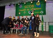 17 February 2018; Emily Shaw lifts the cup with teammates, Katie Moore, Grace O'Neill, Alan Colgan, Tom Tuite, Dónal Doherty, Ryan Molloy and Rory Shiel from The Downs, Westmeath, after winning the Stage Presentation category during the All-Ireland Scór na nÓg Final 2018 at the Knocknarea Arena in Sligo IT, Sligo. Photo by Eóin Noonan/Sportsfile