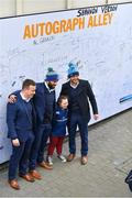 17 February 2018; Leinster players Bryan Byrne, Isa Nacewa and Jamison Gibson-Park meet fans in Autograph Alley ahead of Guinness PRO14 Round 15 match between Leinster and Scarlets at the RDS Arena in Dublin. Photo by Brendan Moran/Sportsfile