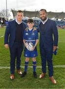 17 February 2018; Leinster mascot Robbie Jones, from Donnybrook, Dublin with Isa Nacewa and Bryan Byrne prior to the Guinness PRO14 Round 15 match between Leinster and Scarlets at the RDS Arena in Dublin. Photo by Brendan Moran/Sportsfile