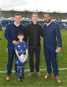 17 February 2018; Leinster mascot Ethan Smyth, from Dublin with Isa Nacewa and Bryan Byrne prior to the Guinness PRO14 Round 15 match between Leinster and Scarlets at the RDS Arena in Dublin. Photo by Brendan Moran/Sportsfile