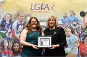 17 February 2018; The Ladies Gaelic Football Association has announced details of the inaugural LGFA Volunteer of the Year awards. Administrators, coaches and media were among those honoured across seven categories, and the awards were presented at Croke Park on Saturday, February 17. Aisling Cleary, Leinster LGFA PRO, from Co Meath, is presented with the PRO of the Year Award by Ladies Gaelic Football Association President Marie Hickey. Croke Park, Dublin. Photo by Piaras Ó Mídheach/Sportsfile