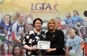 17 February 2018; The Ladies Gaelic Football Association has announced details of the inaugural LGFA Volunteer of the Year awards. Administrators, coaches and media were among those honoured across seven categories, and the awards were presented at Croke Park on Saturday, February 17. Siobhan Condon, Munster LGFA Secretary, is presented with the Committee Officer of the Year Award by Ladies Gaelic Football Association President Marie Hickey. Croke Park, Dublin. Photo by Piaras Ó Mídheach/Sportsfile