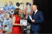 17 February 2018; The Ladies Gaelic Football Association has announced details of the inaugural LGFA Volunteer of the Year awards. Administrators, coaches and media were among those honoured across seven categories, and the awards were presented at Croke Park on Saturday, February 17. Marie Egan, from Kilmihil, Co Clare, Club Coach of the Year Award Winner, speaking with Jackie Cahill, LGFA Commercial and Communications Manager, after accepting her award. Croke Park, Dublin. Photo by Piaras Ó Mídheach/Sportsfile