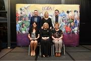 17 February 2018; The Ladies Gaelic Football Association has announced details of the inaugural LGFA Volunteer of the Year awards. Administrators, coaches and media were among those honoured across seven categories, and the awards were presented at Croke Park on Saturday, February 17. Pictured are, back row, from left, Damien Carroll, Emer O'Brien, and Enda Carroll, members of the Carroll family. Front row, Sheena Byrne, from Kilcock, Co Kildare, winner of the Lulu Carroll Award as Overall Volunteer of the Year Award Winner, Ladies Gaelic Football Association President Marie Hickey, and Angela Carroll, mother of the Late Lulu Carroll. Croke Park, Dublin. Photo by Piaras Ó Mídheach/Sportsfile