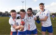 17 February 2018; Mary Immaculate College Limerick players, left to right, James McNeive, Daniel O'Donoghue, Cormac Coffey, and Dara Mac Gearailt celebrate after the Electric Ireland HE GAA Trench Cup Final match between Waterford Institute of Technology and Mary Immaculate College Limerick at Santry Avenue in Dublin. Photo by Daire Brennan/Sportsfile
