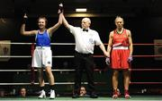 17 February 2018; CIara Ginty, Geesala, Co. Mayo, left, is declared the winner after her bout against Gillian Duffy, Bray, Co. Wicklow, at the 2018 IABA Elite Boxing Championships Semi-Finals at the National Stadium in Dublin. Photo by Barry Cregg/Sportsfile