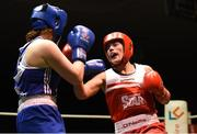 17 February 2018; Ciara Sheedy, Ardnaree, Co. Mayo, left, in action against Grainne Walsh, Sparticus, Tullamore, Co. Offaly during their bout at the 2018 IABA Elite Boxing Championships Semi-Finals at the National Stadium in Dublin. Photo by Barry Cregg/Sportsfile