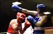 17 February 2018; Ciara Sheedy, Ardnaree, Co. Mayo, right, in action against Grainne Walsh, Sparticus Tullamore, Co. Offaly, during their bout at the 2018 IABA Elite Boxing Championships Semi-Finals at the National Stadium in Dublin. Photo by Barry Cregg/Sportsfile