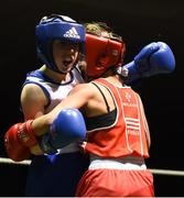 17 February 2018; Shannon Sweeney, St. Annes, County Mayo, left, in action against Courtney Daly, Crumlin, Dublin, during their bout at the 2018 IABA Elite Boxing Championships Semi-Finals at the National Stadium in Dublin. Photo by Barry Cregg/Sportsfile