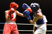 17 February 2018; Tiegan Russell, Fr.Horgans, Co. Cork, left, in action against Michaela Walsh, Monkstown, Dublin, during their bout at the 2018 IABA Elite Boxing Championships Semi-Finals at the National Stadium in Dublin. Photo by Barry Cregg/Sportsfile