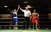 17 February 2018; Shannon Sweeney, St.Annes, Co. Mayo, is declared the winner after her bout against Courtney Daly, Crumlin, Dublin, at the 2018 IABA Elite Boxing Championships Semi-Finals at the National Stadium in Dublin. Photo by Barry Cregg/Sportsfile